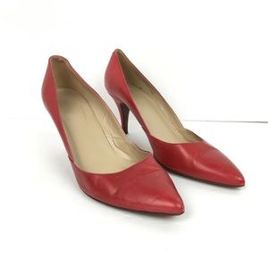 J. Crew Red Leather Valentina D'Orsay Pumps